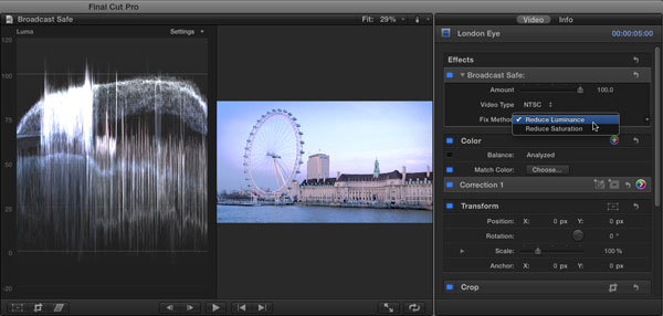 Determining the Broadcast Safe Fix Method in FCP X