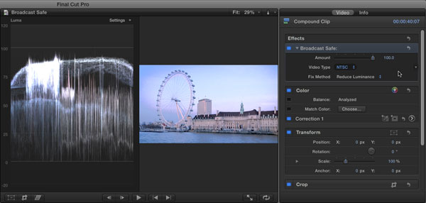 Broadcast Safe and Compound Clips in FCP X