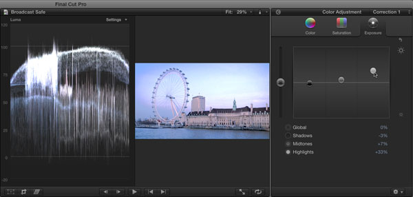 Lifting highlights with the Color Board in FCP X