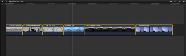 Selecting all the clips in the Timeline in FCP X