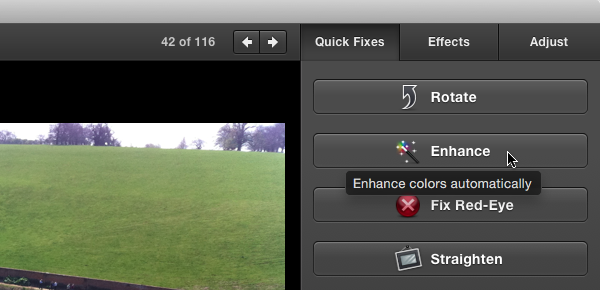 iPhoto Enhance button